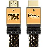 Millions ハイスピードHDMI 2.0 Ver(2.0規格)ケーブル1.0mイーサネット4K/60p HDR 3D オーディオリターンと イーサネットに対応 金属シェル 1.0M (金色の平たい線)