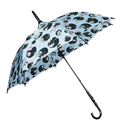 【ANNA SUI】アナスイ 日本製 ドット×フラワー 婦人長傘(雨傘) 水色