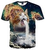 (オリログ)ALLYLOG スペースキャット 半袖 Tシャツ プリント おもしろTシャツ カジュアル カットソー デザイン メンズ (M(日本Sサイズ相当), キャット1)