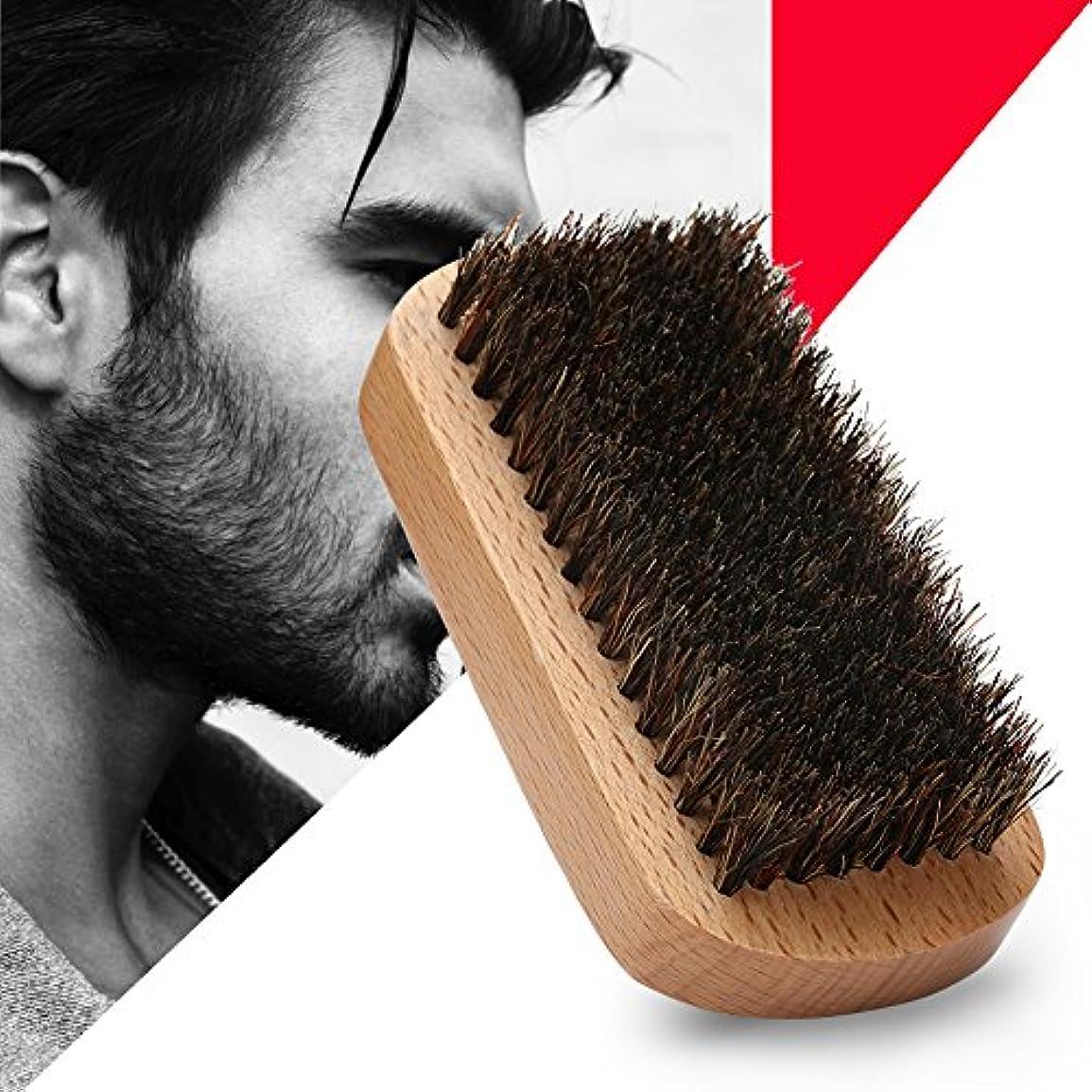 教える三角研究所シェービングブラシ メンズ ウッド 豚剛毛 クリーニング 髭剃り 泡立ち 洗顔ブラシ メンズ ブラック 長方形