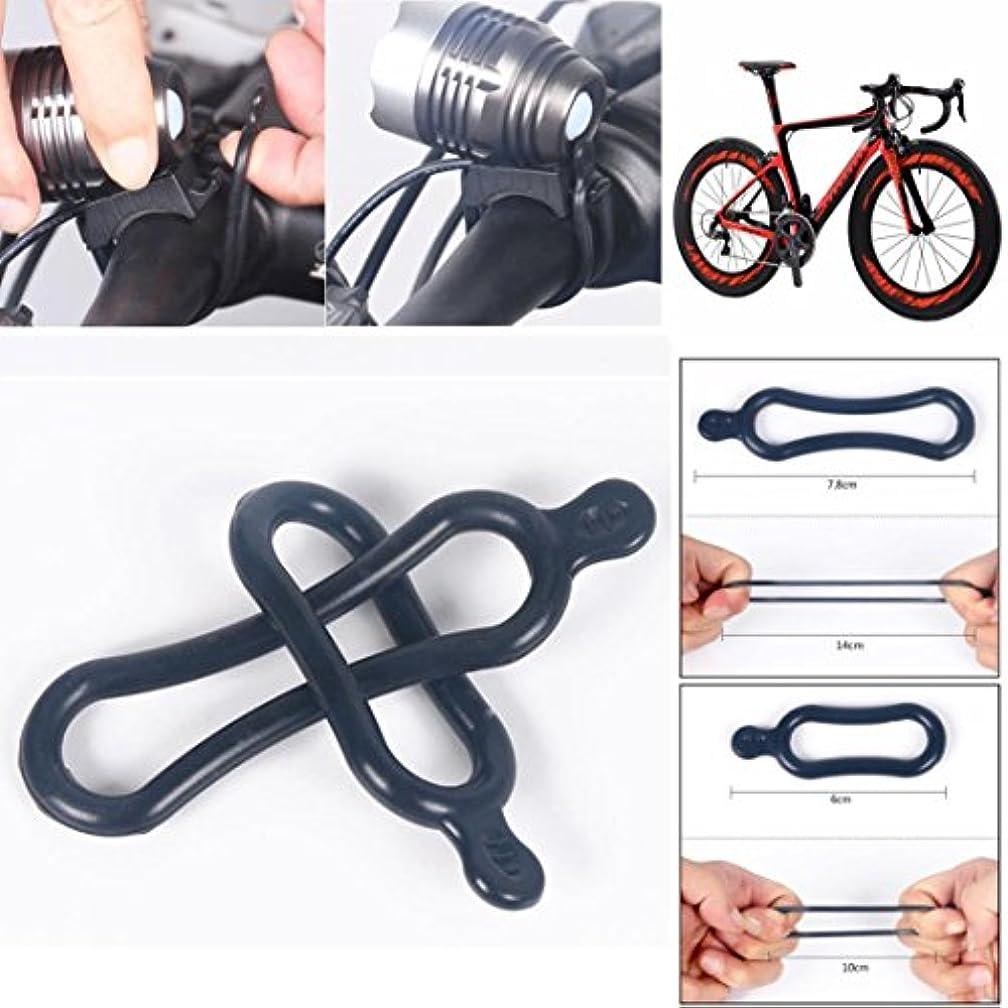 国家雰囲気アンソロジー自転車シリコンストラップ、dressffe 2pcsゴムバンドPVCリングt6 LEDヘッドライト自転車ヘッドランプ自転車用