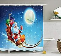 クリスマスデコレーションAmbesonneコレクション、サンタクロースon Dreamy Magical Starry Sky Full Moon父クリスマス漫画画像、ポリエステル生地浴室シャワーカーテン、84インチExtra Long ,マルチ