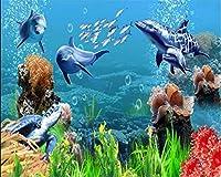 Lcymt カスタム壁紙3D立体壁画水中世界イルカテレビの背景の壁紙装飾的な絵画の壁-350X250Cm