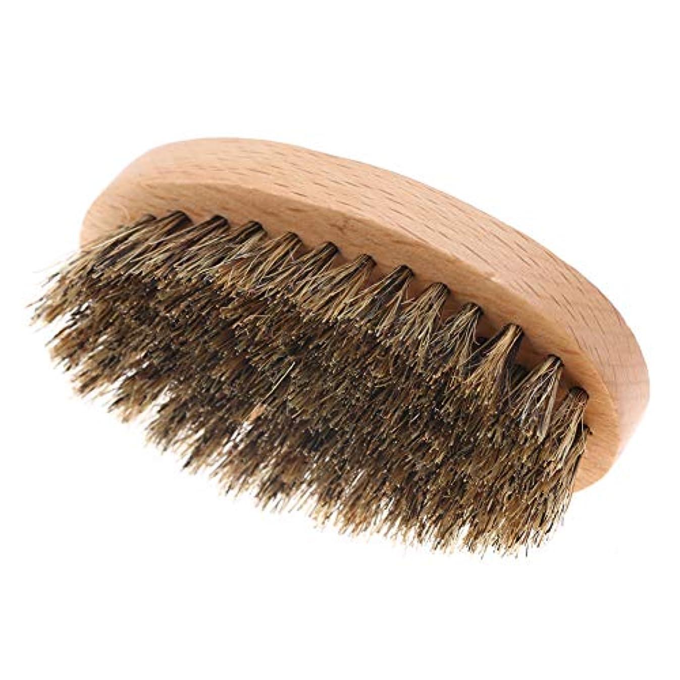 フィヨルドスイス人節約男性のひげのブラシ、口ひげの櫛男性の顔の髪のクリーニングブラシひげ楕円形のひげシェービングマッサージブラシ