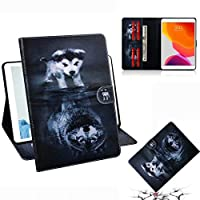 "WVYMX iPad 10.2 2019 ケース, Slim PU Leather Smart ケース with Card Slots with Kickstand Protective Table Leather ケース For New iPad 10.2"" 2019 (7th Generation) Dog"