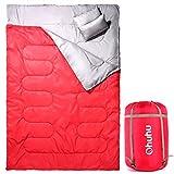 Ohuhu 寝袋 封筒型 2人用 丸洗いok 連結可能 耐寒温度-5度 枕付き レッド