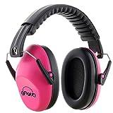 Fnova 防音イヤーマフ 遮音値26dB プロテクター フリーサイズ 折りたたみ型 子供用 自閉症 聴覚過敏 騒音対策 勉強等様々な用途に (ピンク)