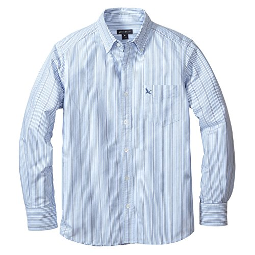 (エディー・バウアー) Eddie Bauer 長袖オックスフォードストライプロゴボタンダウンシャツ(グースロゴ刺しゅう入り)