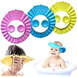 Baby Shower Cap Kids Shower Cap Safe Shampoo Shower Bathing Protection Baby Bath Accessories Bath Visor Adjustable Visor Hat for Toddler Baby Kids Children 3 Pcs