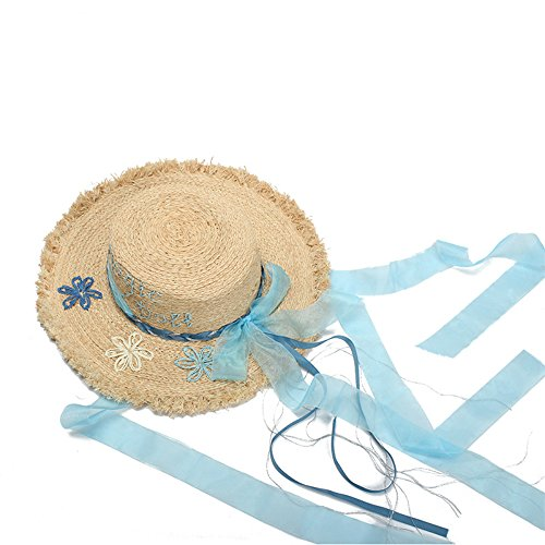 ab2cbc28cbc ... 배타 턱 끈 블루 리본 자수 나비 매듭 멋지게 자외선 차단 자외선 차단 UV 컷 여성 봄 여름용 꽃놀이 여행 자전거 비치 Straw  hat hat hat cancun hat chin string ...