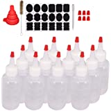 Belinlen 12 Pack 4-Ounce Plastic Squeeze Bottles with Red Tip Caps and Measurement - Good for Crafts, Art, Glue, Multi Purpos