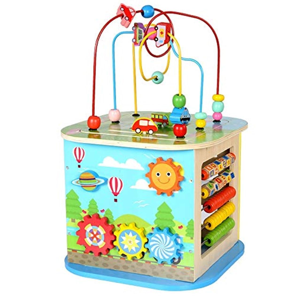 誰でもむしろ闇子供 知育玩具 発達幼児教育を学ぶ、キッズアクティビティキューブ木製ビーズ迷路形状選別機多機能教育玩具幼児のギフトのために 早期開発 男の子 女の子 誕生日のプレゼント (Color : Multi-colored, Size : Free size)