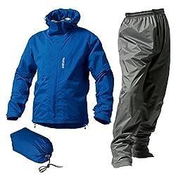 マックレインウェア(MAKKU RAIN WEAR)  DUAL ONE (デュアルワン) 耐久防水レインスーツ ウエア:マットブルー パンツ:グレー L AS-8000