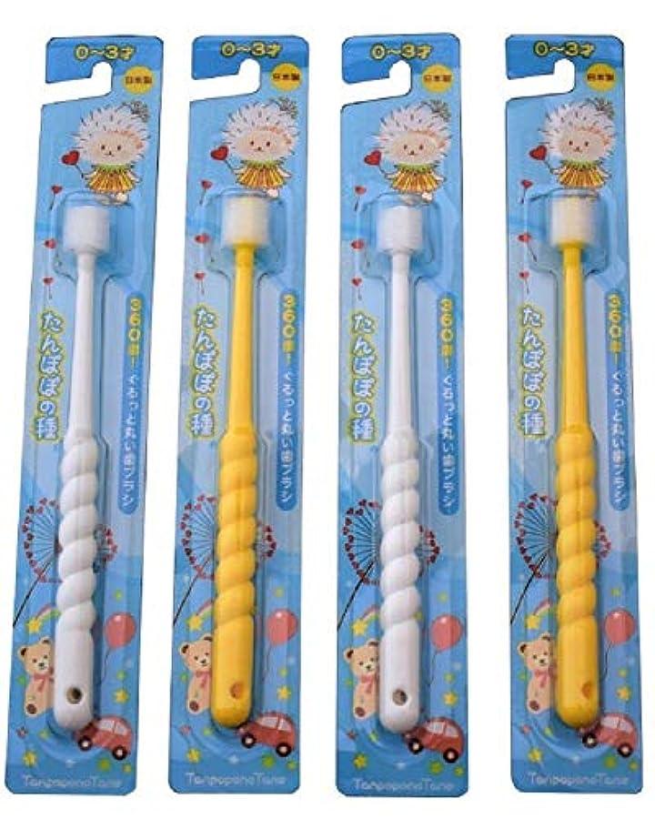 アナウンサーバスト解くたんぽぽの種 360度ぐるっと丸い歯ブラシ 極細毛 (0~3歳用 4本セット)