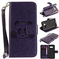 BRAVODAY 人気 かわいいパンダ Galaxy S8 Plus 財布 可愛い Galaxy S8 Plus 手帳型 パンダ財布 便利 手作り高級PU 合皮 耐汚れ 維持しやすい 耐衝撃 全面保護 カード収納 マグネット機能 スタンド機能 紫
