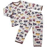 ボーイズ キッズ パジャマ[enfant pur]長袖パジャマ上下セット くるま 車柄 寝間着 接結パジャマ 男の子 男児 ボーイズ 子供用 120cm ブラウン
