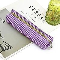ふでばこ ペンケース グリッド サテン制 大容量 鉛筆万年筆など収納 多機能 文房具 収納ケース 軽量 携帯便利 (Color : Purple)