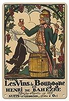22cm x 30cmヴィンテージハワイアンティンサイン - ブルゴーニュワイン、フランス - ワインメーカーHenri deBah?zre - ビンテージな広告ポスター によって作成された ガイ・アルヌー c.1916
