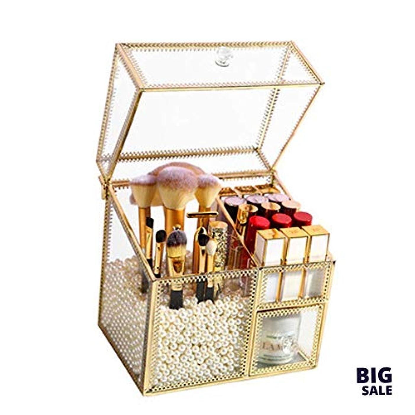 横向きフラグラントおもてなしNICEEガラス化粧ブラシバケットドレッシングテーブル、リップグレーズスキンケアアイブロウペンシルホルダー、ホームブラシカートリッジ収納ボックスNICEY