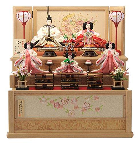 ひなせい 雛人形 コンパクト収納飾り 三段飾り 五人飾り 別誂御調 ひいな飾 たも製ナチュラル 扇面桜 間口67.5×奥行65×高さ72cm h273-hs-t4-356-sj
