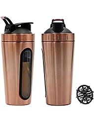 ステンレススチール スポーツウォーターボトル プロテインミルクセーキーシェーカーカップ 可視ウィンドウ ゴールド