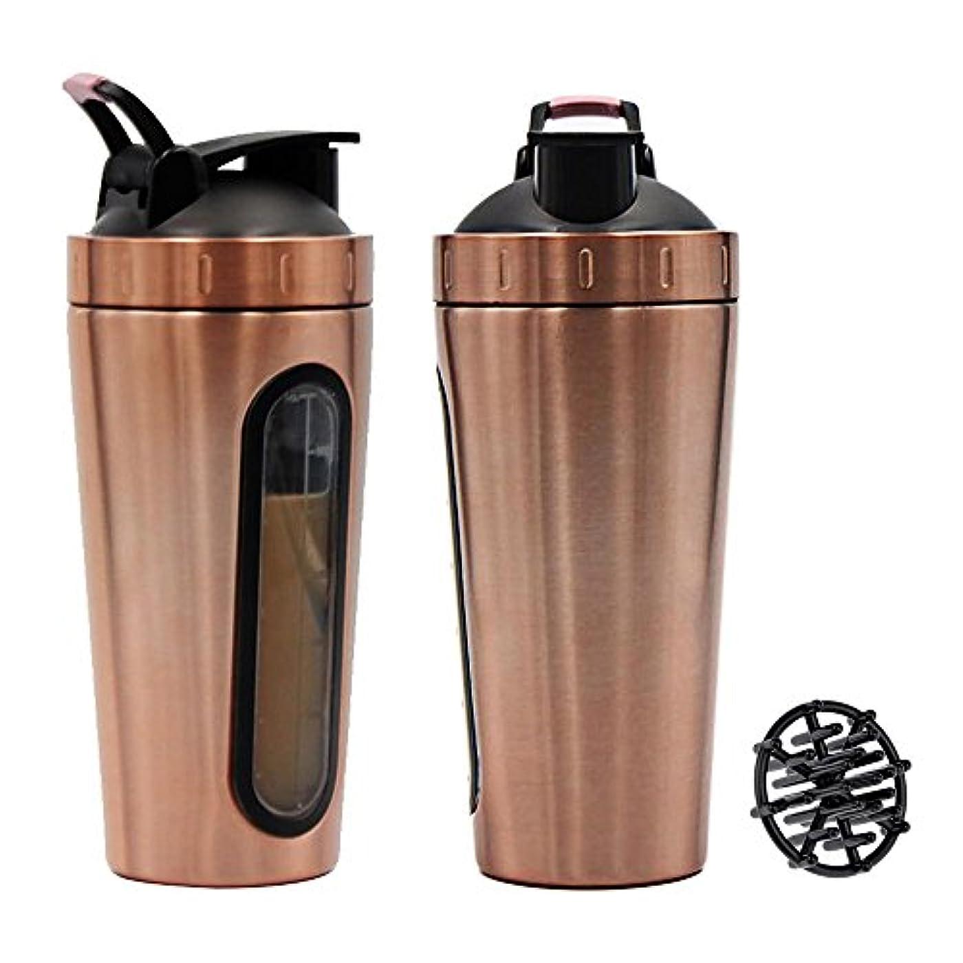 リフレッシュ蓋想像するステンレススチール スポーツウォーターボトル プロテインミルクセーキーシェーカーカップ 可視ウィンドウ ゴールド