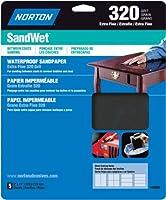 Norton 48080 Sand Wet Sandpaper 320 Grit, 9-Inch x 11-Inch, 5-Pack by Norton [並行輸入品]