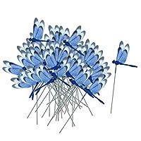 Baoblaze 約50本セット トンボ/蝶 ステーク 全7種 ガーデン ヤード 鉢植え 屋外 装飾 - ドラゴンフライブルー