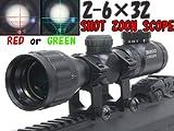 TASCOタイプ 2-6x32 SMGイルミネーションショートスコープ(マウントリング付)Red/Green