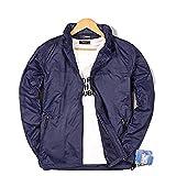 メンズ アウトドア 長袖 ジャケット ウィンドブレーカー 風 ジップアップパーカー ナイロンジャケット (L, ネイビー)