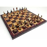 Egyptian Chess Set W/ 18 High Gloss Cherry & Burlwood Color Board by HPL [並行輸入品]