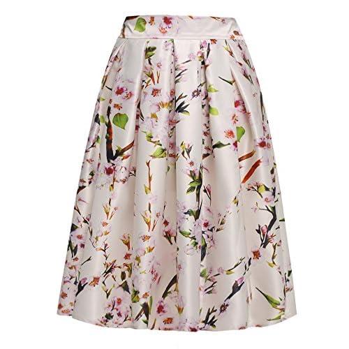(ジアグー) Zeagoo レディース スカート フレアスカート Aライン ひざ丈 スカート 花柄 総柄 上品 美シルエット デート 女子会 ウェストゴム 7カラー