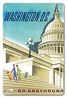 22cm x 30cmヴィンテージハワイアンティンサイン - ワシントン、D.C. アメリカ合衆国 - 米国議会議事堂 - グレイハウンド - ビンテージな世界旅行のポスター c.1950s