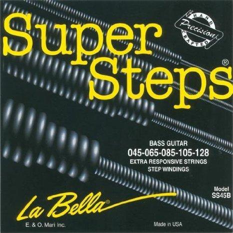 【 並行輸入品 】 La Bella (ラベラ) SS45-B Super Steps, スタンダード エレキベース 5弦セット (45-128)