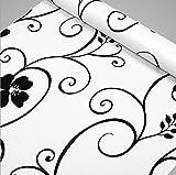 FUT(エフュ ト) 上品ブラック花柄PVC原材料自由裁断はがせるDIY壁紙シール リビング/和室/店舗/会社/オフィスにおしゃれ貼付シールタイプウォールステッカー幅45cm*長さ1000cm