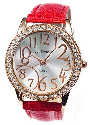 大人可愛いレディース腕時計 ラウンドフェイス クロコ型押し レッド 赤色 ベルトウォッチ tvs305-va2
