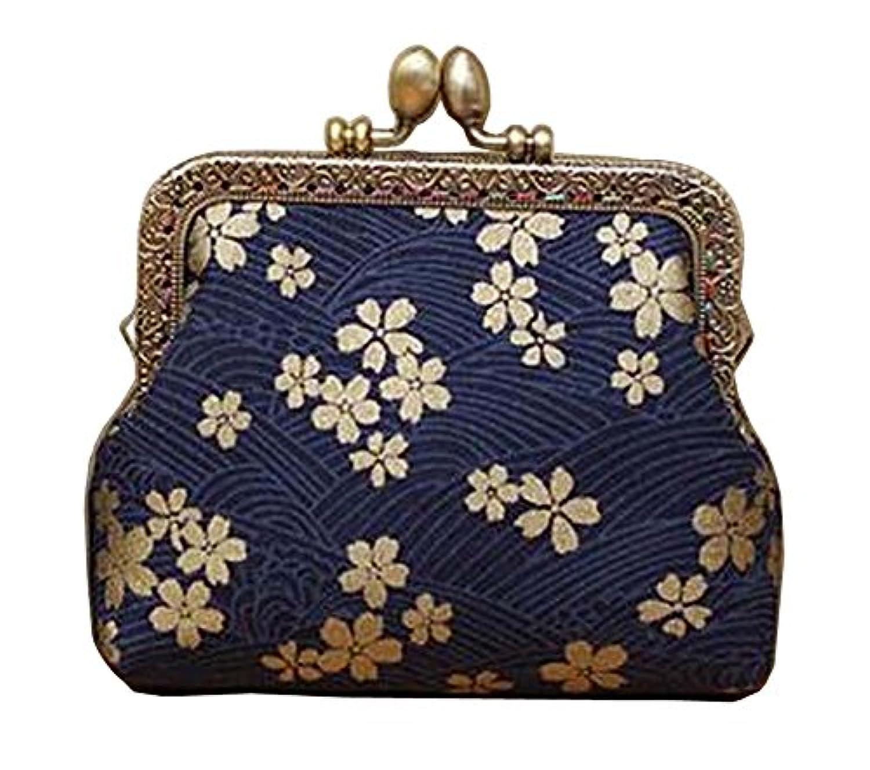 レディースバックルコイン財布小さな財布エレガントなクラッチポーチ、ネイビー花