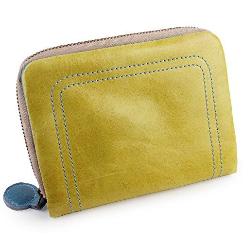096e643160c2 [パッカパッカ] pacca pacca 二つ折り財布 財布 ファスナー お札入れ 大容量 カード入れ ポケット 馬革 本革 かわいい カラフル  キュート (イエロー×ブルー)