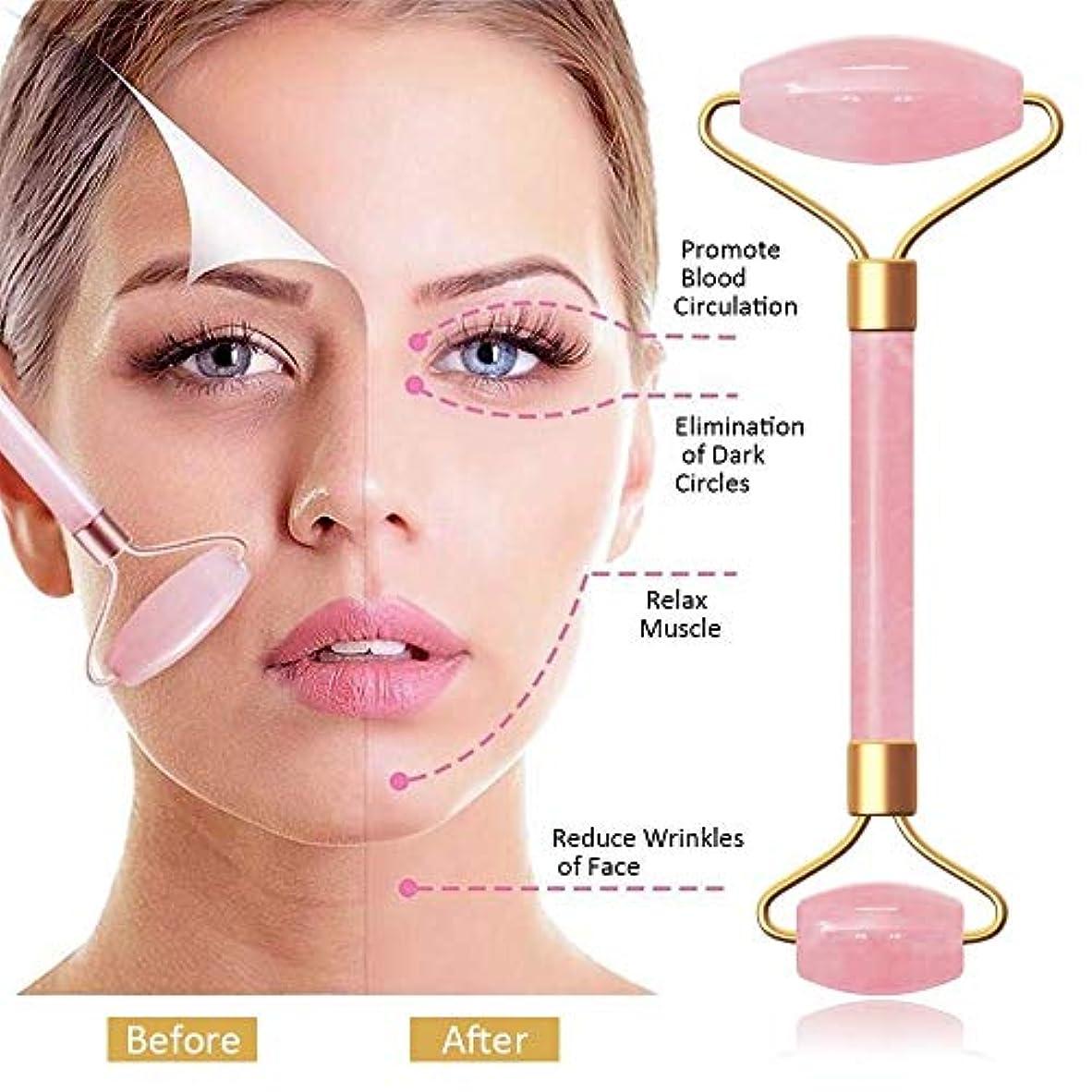 微生物シンプルなキャンセル抜け毛コラーゲンを老化しわのための美容ツールセット - ジェイドローラー - スキンケア、フェイシャルトリートメント、あごひげの成長のための顔マッサージとキット (Color : Pink)