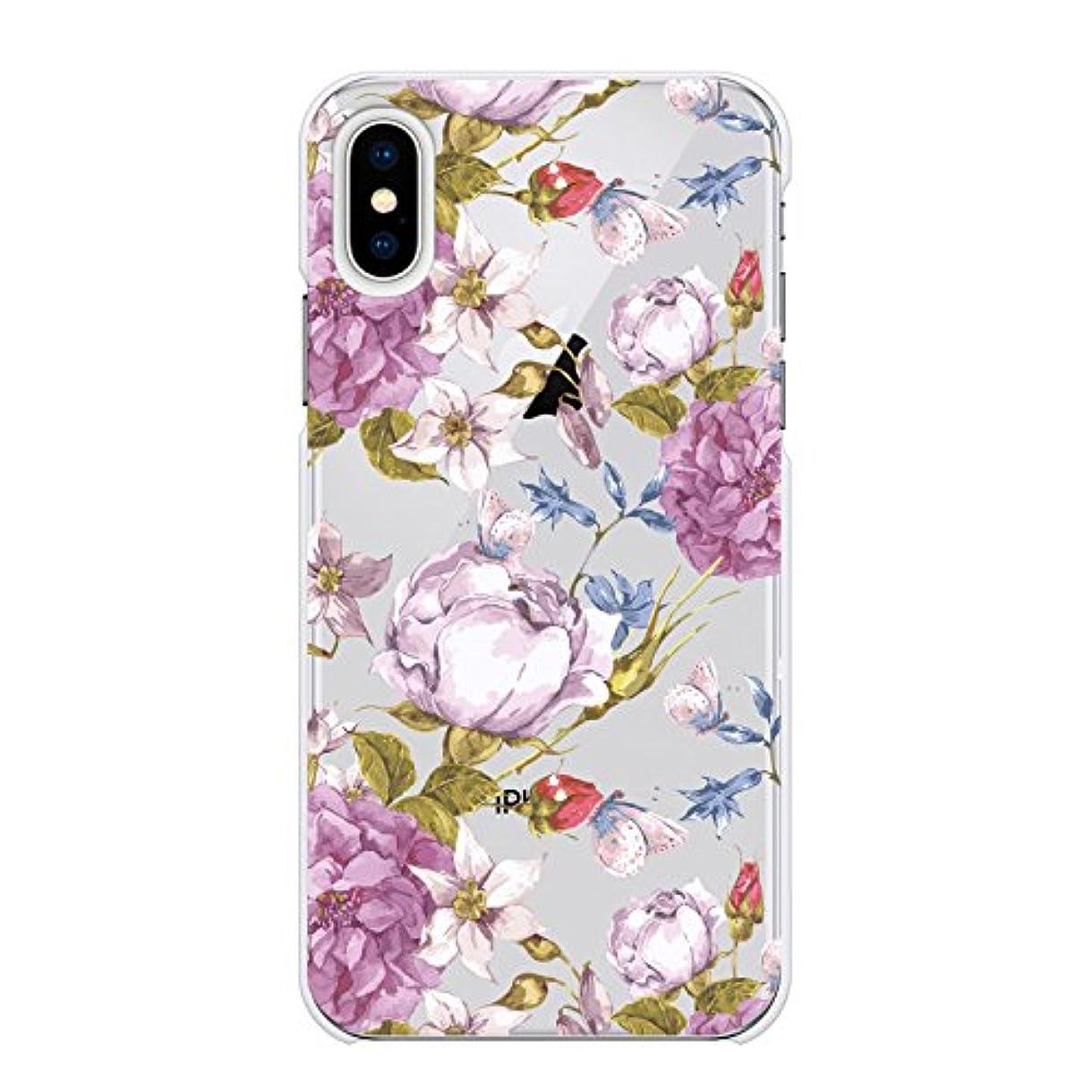 ファントムシャイブームRuuu iPhone XR ハード ケース スマートフォン スマホ カバー 柄入り クリアケース フェミニン ボタニカル クリア 透明 イラスト かわいい 花柄 はな 花 フラワー 蝶々