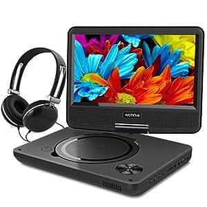 WONNIE ポータブルDVDプレーヤー 9インチ 180°回転可能 リージョンフリー SD/MS/MMCカード/USBに対応可能