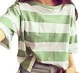 belle cavalo レディース Tシャツ 半袖 ボーダー 柄 カラフル カラー 豊富 緑 グリーン (M, グリーン)