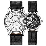 カップル腕時計 TangQI 1ペア/ 2PC 超薄型 レザーバンド ロマンチック ファッション カップル 腕時計 カップル ウォッチ 人気 クォーツ 腕時計 記念日  誕生日 プレゼント (ホワイト+ブラック)