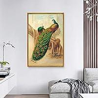 ヨーロッパのレトロ孔雀絵画キャンバス、写真用リビングルーム現代の家の装飾モジュラープリント壁アートポスター60×80センチフレームなし