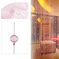 (Pink) - Wabrina 1x2 M Fashion Decoration Beaded String Curtain Door Divider Crystal Beads Tassel Screen Curtain Beads Panel for Wedding Coffee House Restaurant Parts, Pink