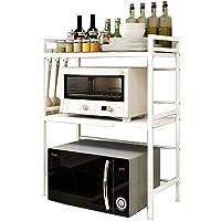 レンジ上ラック レンジ台 伸縮 幅40-60cm 二段 棚高さ調整可能 キッチン収納 (ホワイト二段タイプ)