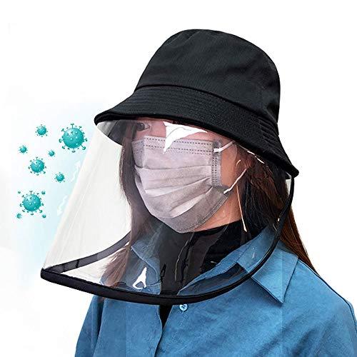ハット ウイルス対策 防護帽 コロナウィルス対策 花粉症対策 防塵 飛沫を防ぐ フェイスカバー つば広ハット 日除け帽子 UVカット 男女兼用 ブラック 取り外し可能