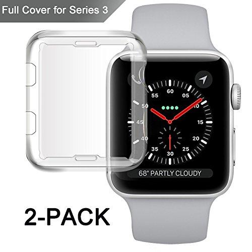 Apple Watchシリーズ3ケース、misxi iWatch 3スクリーンプロテクターTpu超薄型カバーオールラウンド0.3MM for新しいApple Watchシリーズ338mm ( 2パック)