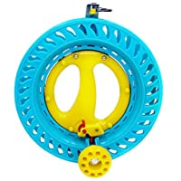 EMMAKITES 22cm ABSプラスリック 凧糸巻き ブレーキシステム付き 初心者 子供用 凧揚げリール イエロー&ブルー
