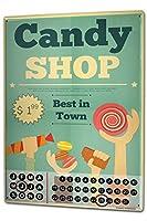 カレンダー Perpetual Calendar Retro candy shop Tin Metal Magnetic